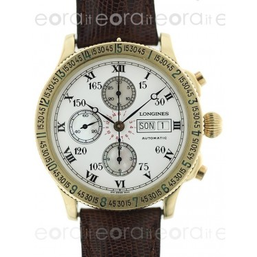 Longines Lindbergh Chronograph Hour Angle 18k Oro Giallo ref.674.5233 art. L128